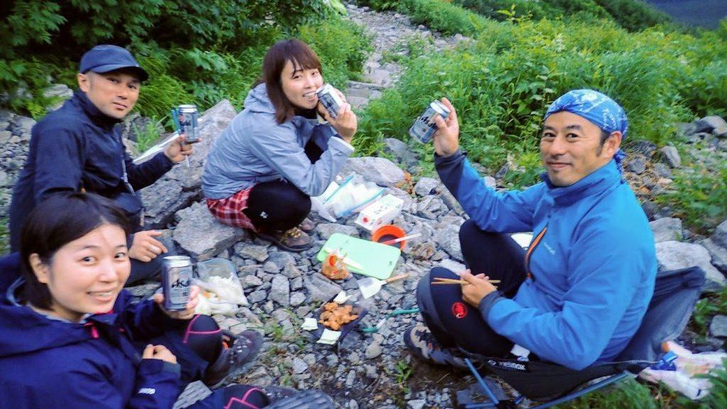 岳沢で鉄板焼き
