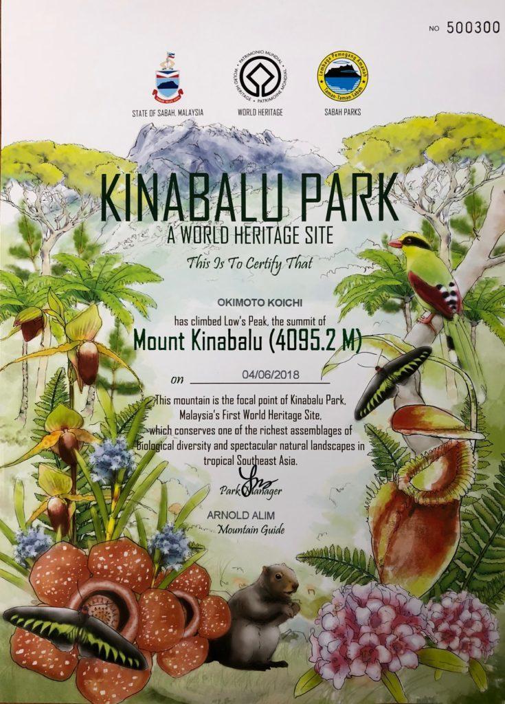 キナバル山 登頂証明書