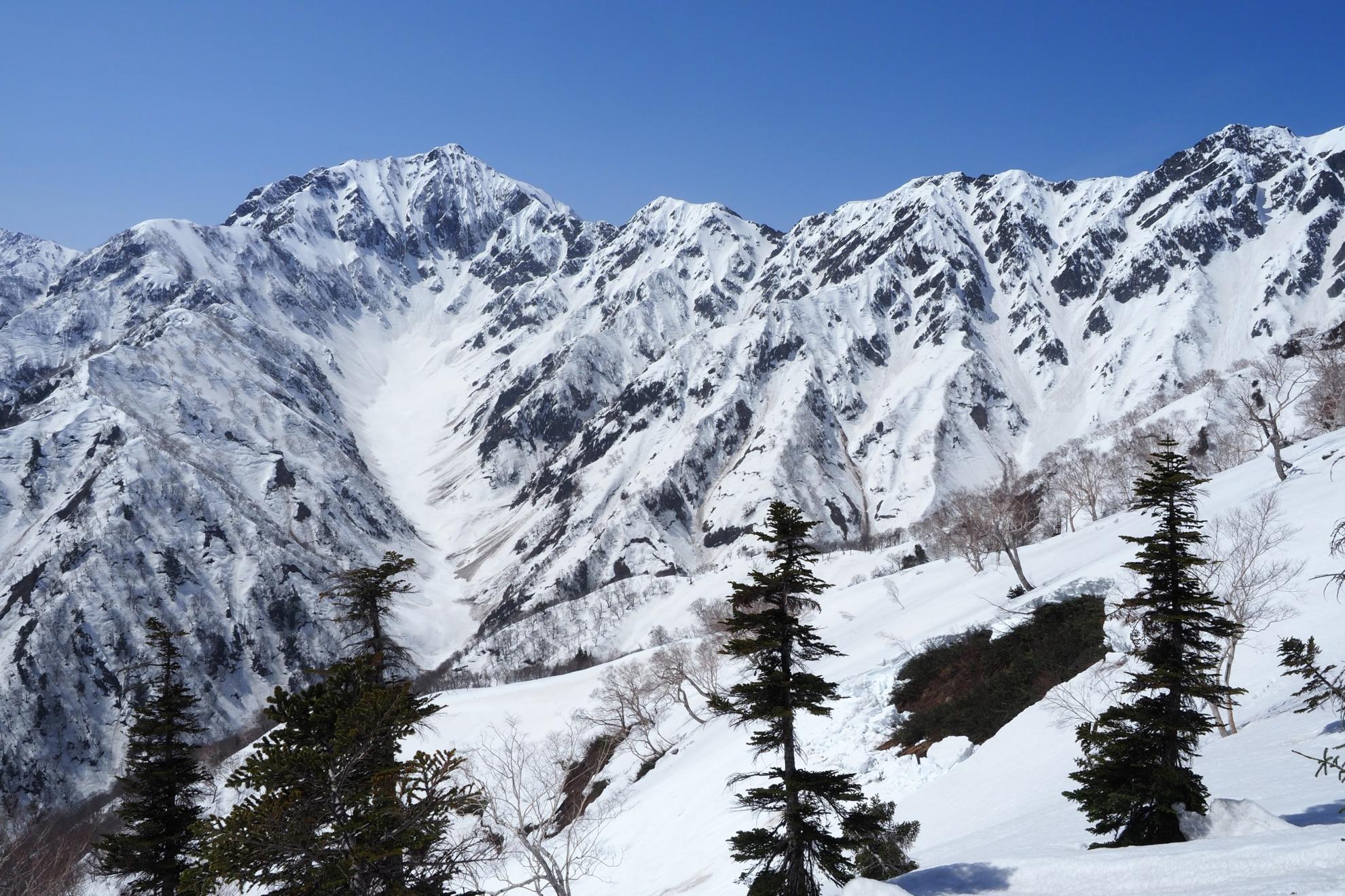 雪山の鹿島槍ヶ岳とカクネ里雪渓