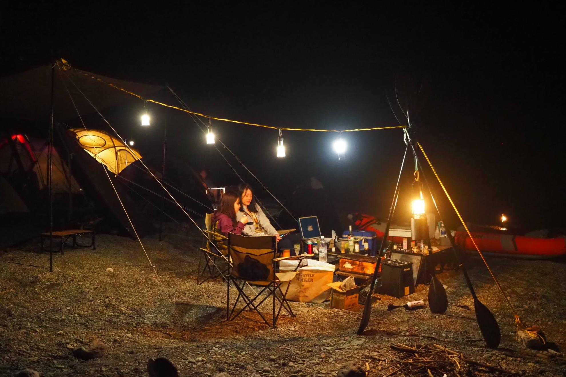 キャンプのランタン配置例